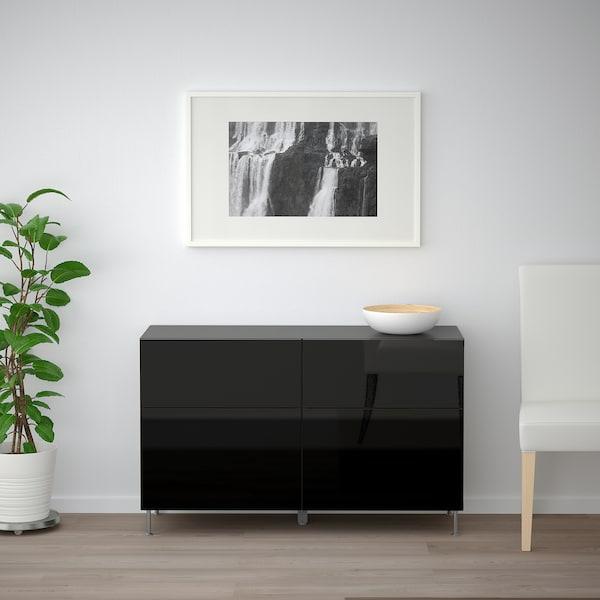 BESTÅ Storage combination w doors/drawers, black-brown/Selsviken/Stallarp high-gloss/black, 120x40x74 cm