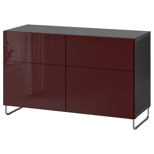BESTÅ storage combination w doors/drawers black-brown Selsviken/Sularp/high-gloss dark red-brown 120 cm 42 cm 74 cm