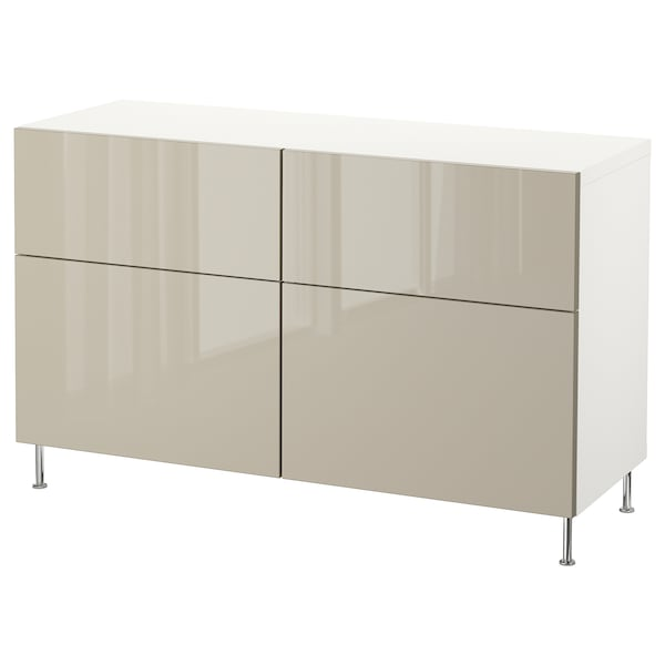 BESTÅ Storage combination w doors/drawers, white/Selsviken/Stallarp high-gloss/beige, 120x40x74 cm
