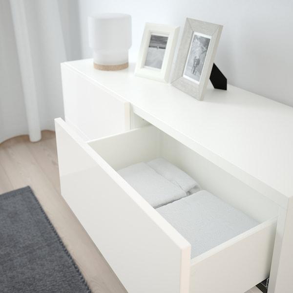 BESTÅ Storage combination w doors/drawers, white/Selsviken/Stallarp high-gloss/white, 120x40x74 cm