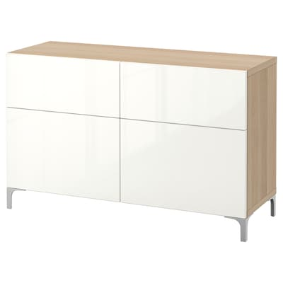 BESTÅ Storage combination w doors/drawers, white stained oak effect/Selsviken high-gloss/white, 120x40x74 cm