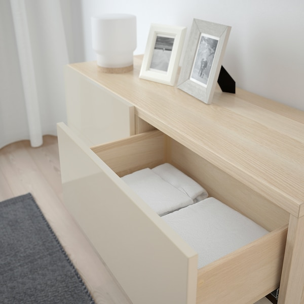 BESTÅ Storage combination w doors/drawers, white stained oak effect/Selsviken/Stallarp high-gloss/beige, 120x40x74 cm