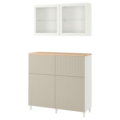 BESTÅ Storage combination w doors/drawers, white Sutterviken/Kabbarp/grey-beige clear glass, 120x42x240 cm