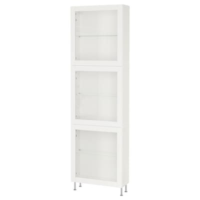 BESTÅ Storage combination w glass doors, white/Sindvik/Stallarp white clear glass, 60x22x202 cm
