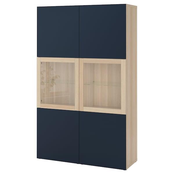 BESTÅ storage combination w glass doors white stained oak effect/Notviken blue clear glass 120 cm 42 cm 192 cm