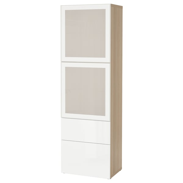 BESTÅ Storage combination w glass doors, white stained oak effect/Selsviken high-gloss/white frosted glass, 60x42x193 cm