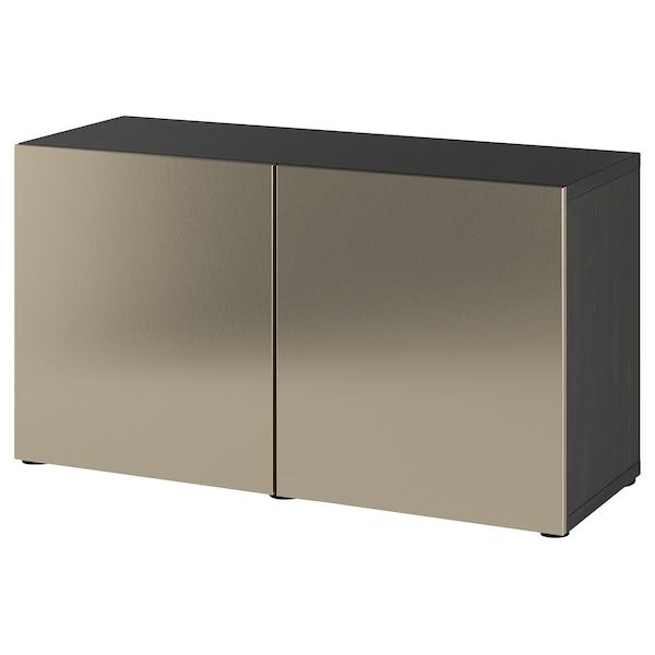 BESTÅ Storage combination with doors, black-brown/Riksviken light bronze effect, 120x42x65 cm