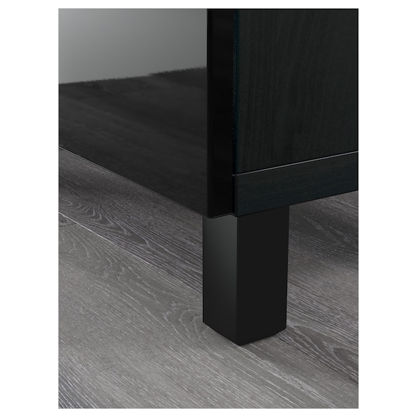 BESTÅ Storage combination with doors, black-brown Selsviken/Glassvik high-gloss/black smoked glass, 180x42x112 cm