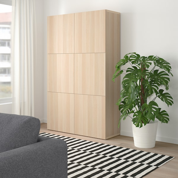BESTÅ storage combination with doors Lappviken white stained oak effect 120 cm 40 cm 192 cm