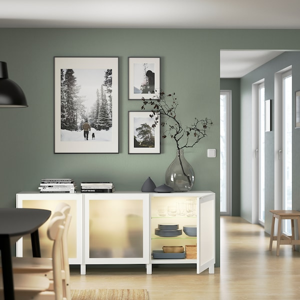 BESTÅ Storage combination with doors, white/Glassvik/Stubbarp white frosted glass, 180x42x74 cm