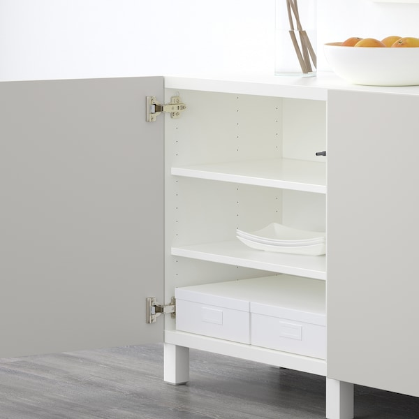 BESTÅ storage combination with doors white/Lappviken light grey 180 cm 40 cm 74 cm
