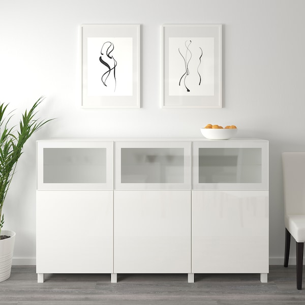 BESTÅ Storage combination with doors, white Selsviken/Glassvik high-gloss/white frosted glass, 180x42x112 cm