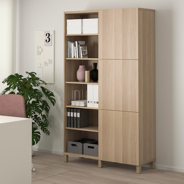 BESTÅ storage combination with doors white stained oak effect/Lappviken/Stubbarp white stained oak effect 120 cm 42 cm 202 cm