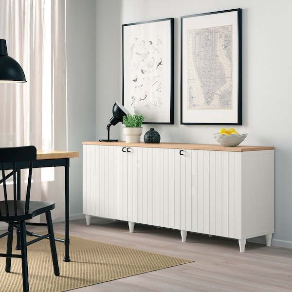 BESTÅ Storage combination with doors, white/Sutterviken/Kabbarp white, 180x42x76 cm