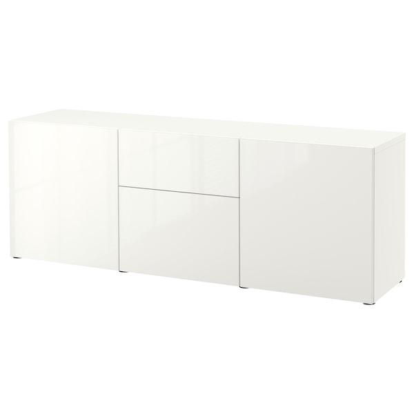 BESTÅ Storage combination with drawers, white/Selsviken high-gloss/white, 180x42x65 cm