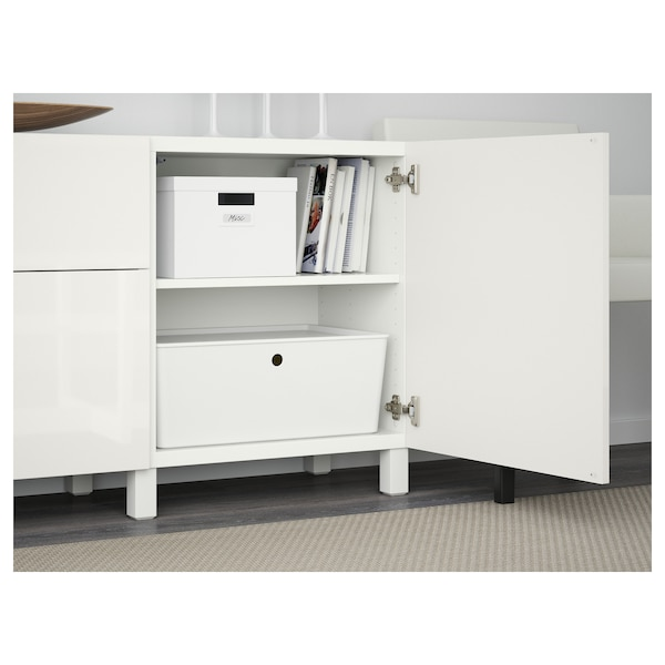 BESTÅ Storage combination with drawers, white/Selsviken/Stubbarp high-gloss/white, 180x42x74 cm
