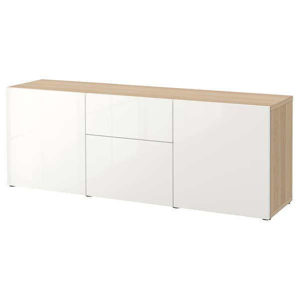 BESTÅ Storage combination with drawers, white stained oak effect/Selsviken high-gloss/white, 180x42x65 cm