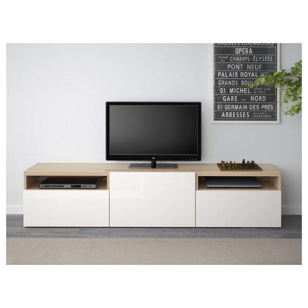 BESTÅ TV bench, white stained oak effect/Selsviken high-gloss/white, 180x42x39 cm
