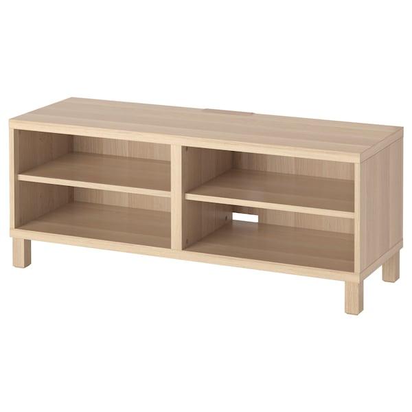 BESTÅ TV bench white stained oak effect 120 cm 40 cm 48 cm 10 kg