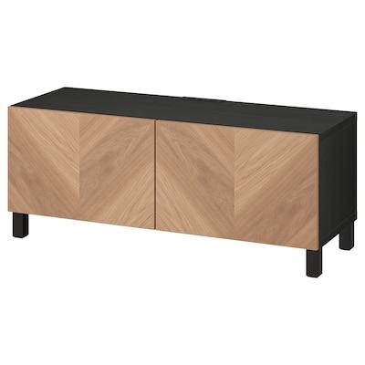BESTÅ TV bench with doors, black-brown/Hedeviken/Stubbarp oak veneer, 120x42x48 cm