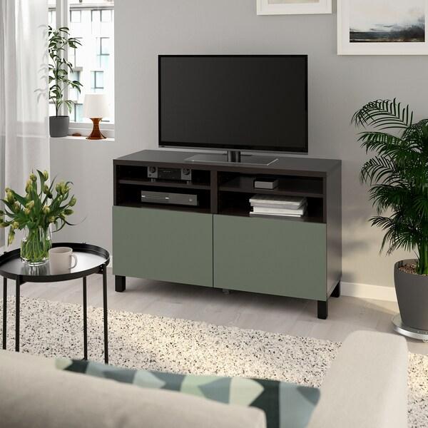 BESTÅ TV bench with doors, black-brown/Notviken/Stubbarp grey-green, 120x42x74 cm