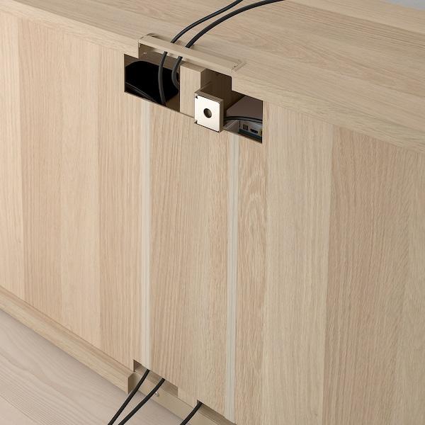 BESTÅ TV bench with doors, white stained oak effect/Notviken/Stubbarp grey-green, 120x42x74 cm