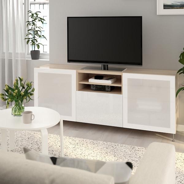 BESTÅ TV bench with drawers white stained oak effect/Selsviken/Stallarp high-gloss/white frosted glass 180 cm 42 cm 74 cm 50 kg