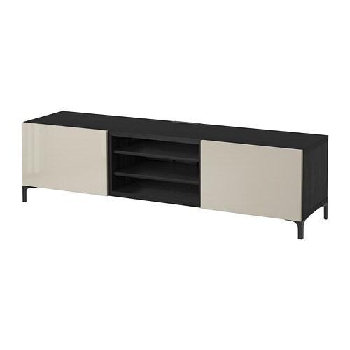 Bestå Tv Bench With Drawers Black Brown Selsviken High Glossbeige
