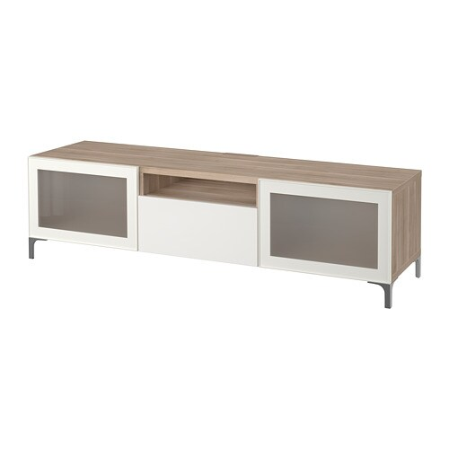 Best tv bench grey stained walnut effect selsviken high gloss white frosted glass drawer Walnut effect living room furniture