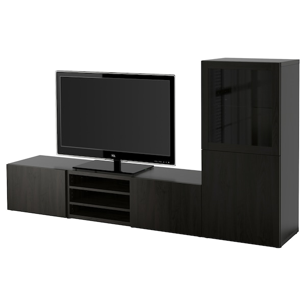 BESTÅ TV storage combination/glass doors, black-brown/Lappviken black-brown clear glass, 240x42x129 cm
