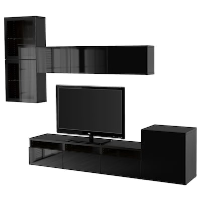 BESTÅ TV storage combination/glass doors, black-brown/Selsviken high-gloss/black clear glass, 300x42x211 cm