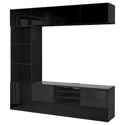 BESTÅ TV storage combination/glass doors, black-brown/Selsviken high-gloss/black clear glass, 240x40x230 cm