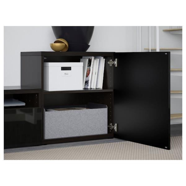 BESTÅ TV storage combination/glass doors, black-brown/Selsviken high-gloss/black smoked glass, 300x42x211 cm