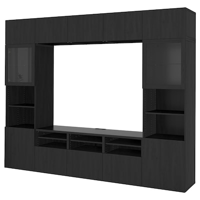 BESTÅ TV storage combination/glass doors, Lappviken/Sindvik black-brown clear glass, 300x40x230 cm