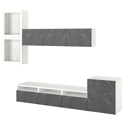 BESTÅ TV storage combination/glass doors, white Glassvik/Bergsviken black, 300x42x211 cm