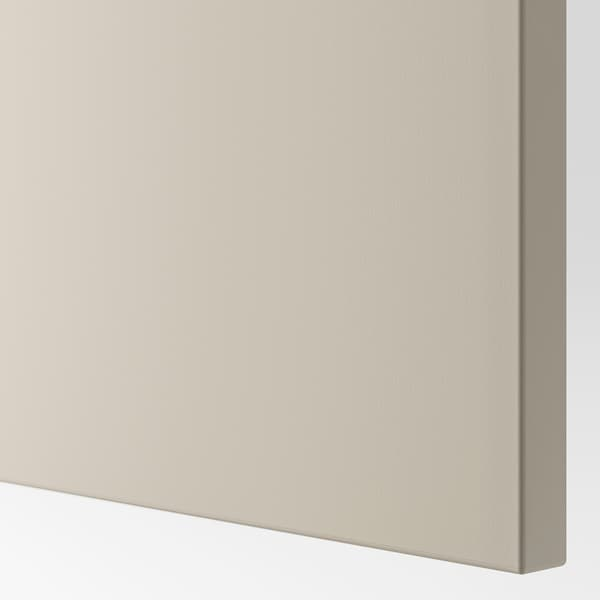 BESTÅ TV storage combination/glass doors, white Lappviken/light grey-beige clear glass, 300x42x211 cm