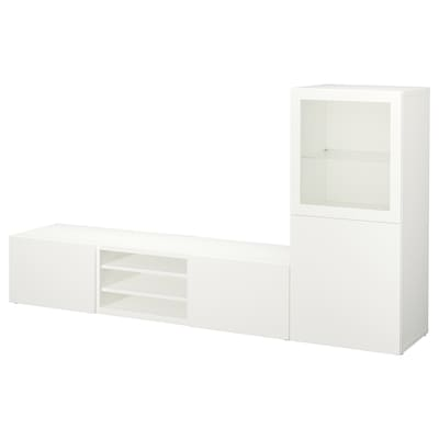 BESTÅ TV storage combination/glass doors, white/Lappviken white clear glass, 240x42x129 cm