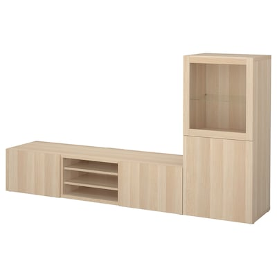 BESTÅ TV storage combination/glass doors, white stained oak effect/Lappviken white stained oak eff clear glass, 240x42x129 cm