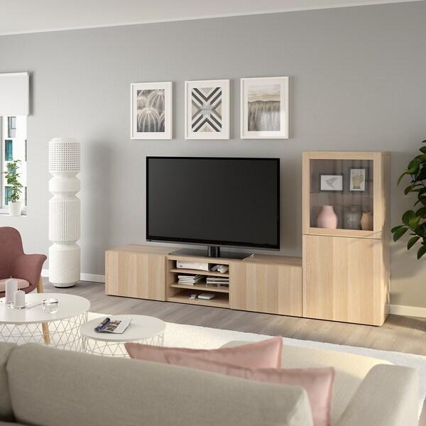 BESTÅ TV storage combination/glass doors, white stained oak effect/Lappviken white stained oak eff clear glass, 240x42x129 cm