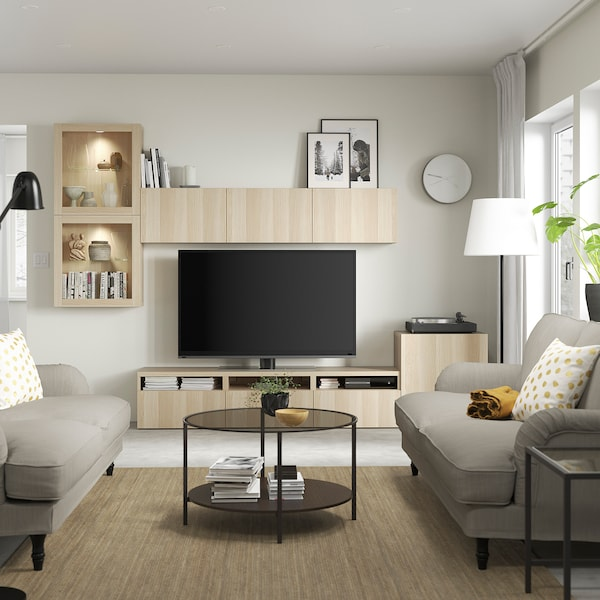 BESTÅ TV storage combination/glass doors, white stained oak effect/Lappviken white stained oak eff clear glass, 300x42x211 cm
