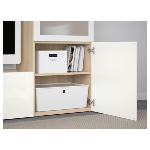 BESTÅ TV storage combination/glass doors white stained oak effect/Selsviken high-gloss/white frosted glass 240 cm 42 cm 129 cm