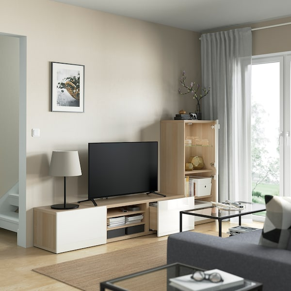 BESTÅ TV storage combination/glass doors, white stained oak effect/Selsviken high-gloss/white frosted glass, 240x42x129 cm