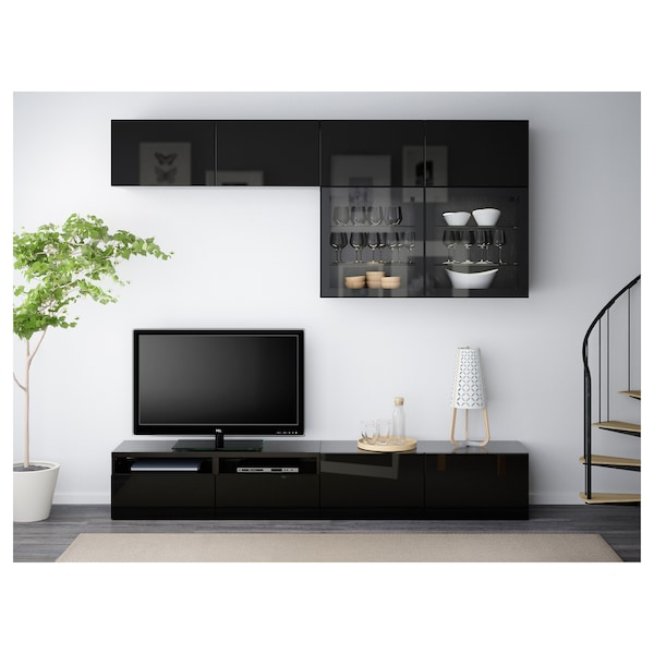 BESTÅ TV storage combination/glass doors black-brown/Selsviken high-gloss/black clear glass 240 cm 40 cm 230 cm