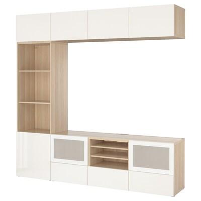 BESTÅ TV storage combination/glass doors white stained oak effect/Selsviken high-gloss/white frosted glass 240 cm 40 cm 230 cm