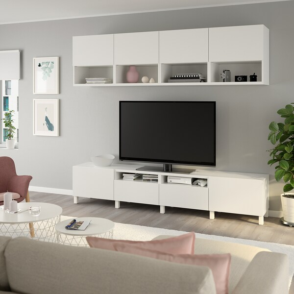 BESTÅ TV storage combination, white/Lappviken/Stubbarp white, 240x42x230 cm