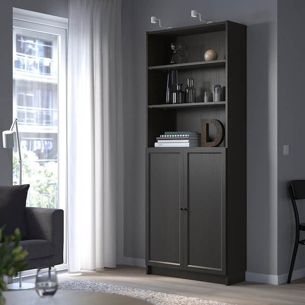 BILLY / OXBERG Bookcase with doors, black-brown, 80x30x202 cm