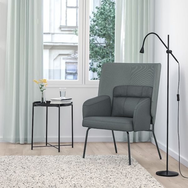BINGSTA high-back armchair Vissle dark grey/Kabusa dark grey 70 cm 58 cm 101 cm 45 cm