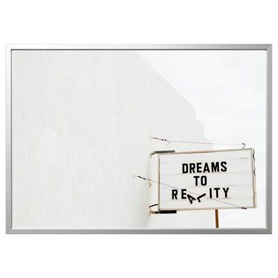 BJÖRKSTA picture with frame dream/aluminium-colour 140 cm 100 cm