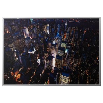 BJÖRKSTA picture with frame city lights, New York/aluminium-colour 200 cm 140 cm