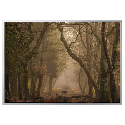 BJÖRKSTA picture with frame Deer/aluminium-colour 200 cm 140 cm